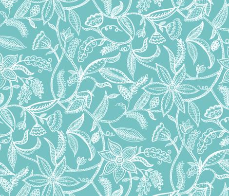 Climbing plants__turq fabric by chulabird on Spoonflower - custom fabric
