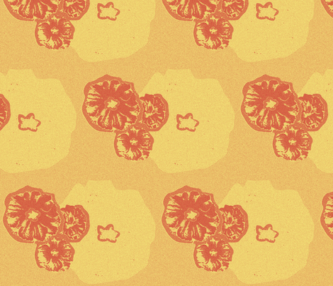 Flowers Orange Cream fabric by dolphinandcondor on Spoonflower - custom fabric