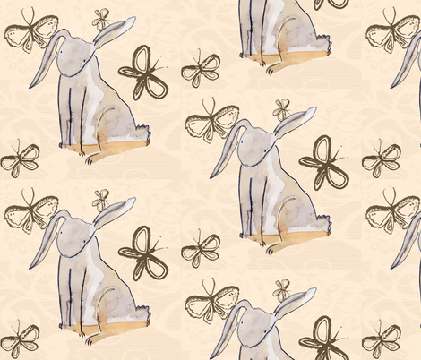 Flutterby Rabbit fabric by drawnbymarnie on Spoonflower - custom fabric