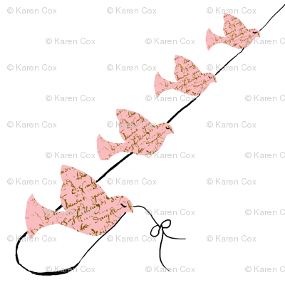 Birds on a line pink