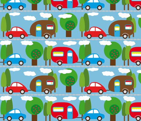 Caravan and Trees with clouds fabric by heimatkinder on Spoonflower - custom fabric