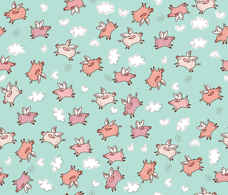 When Pigs Fly fabric by cynthiafrenette on Spoonflower - custom fabric