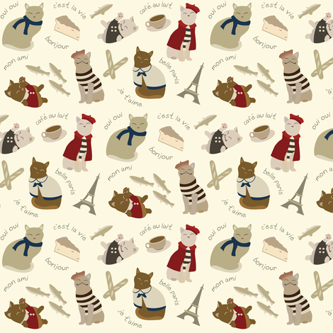 (Small) French Cats in Paris fabric by greencouchstudio on Spoonflower - custom fabric