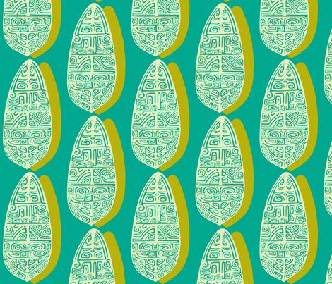 The Polynesian in Aqua fabric by sophista-tiki_by_dawn_frasier on Spoonflower - custom fabric