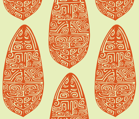 The Polynesian orange fabric by sophista-tiki_by_dawn_frasier on Spoonflower - custom fabric