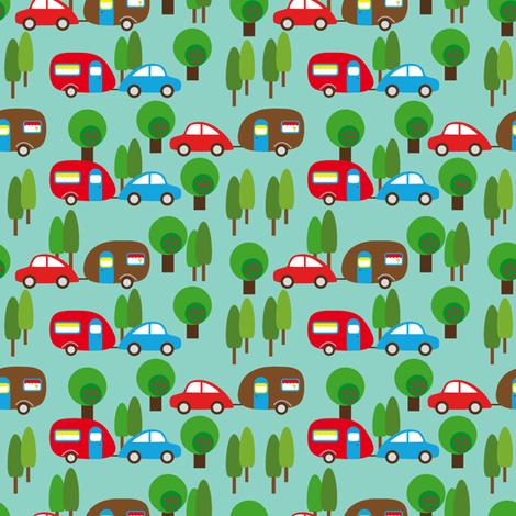 Caravan and Trees lighter fabric by heimatkinder on Spoonflower - custom fabric