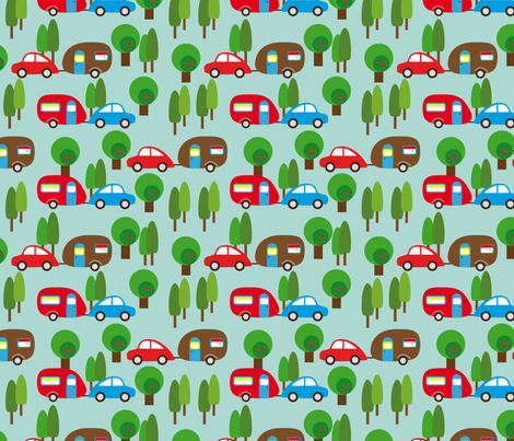 Caravan and Trees lighter (Illustrator) fabric by heimatkinder on Spoonflower - custom fabric
