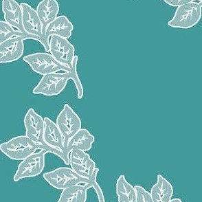 Diagonal-Leaves-White-Outline-6in-Seafoam-TEAL