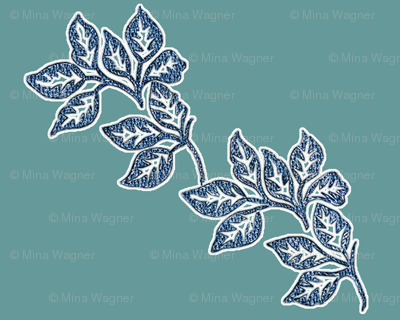 diagonal-leaves-white-outline-6in-bluetexture-TEAL
