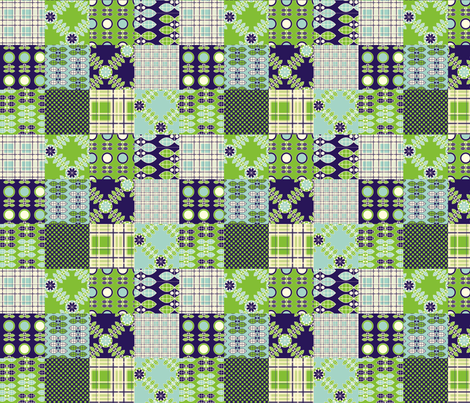 Patchwork in Blue and Green fabric by nanetteregan on Spoonflower - custom fabric