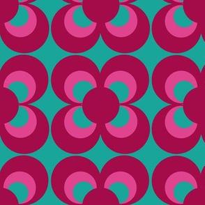 Retro flower pink turquoise