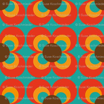 Retro flower turquoise orange brown