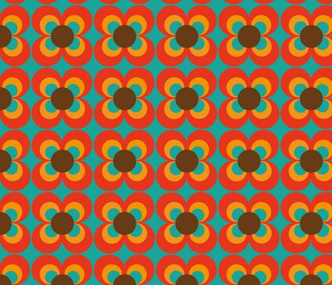 Retro flower turquoise orange brown fabric by heimatkinder on Spoonflower - custom fabric