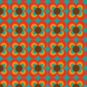 Retro flower turquoise orange brown