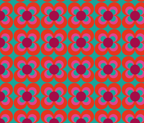 Retroflower turquoise red purple fabric by heimatkinder on Spoonflower - custom fabric