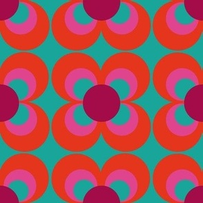 Retroflower turquoise red purple
