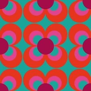 Retroflower turquoise red purple