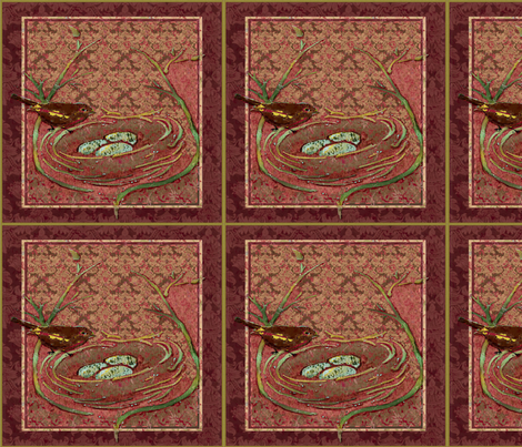 Brown_Bird_Wallpaper fabric by ddmote on Spoonflower - custom fabric
