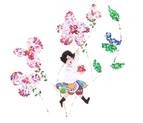fillette à l'oiseau fabric by elfyne on Spoonflower - custom fabric