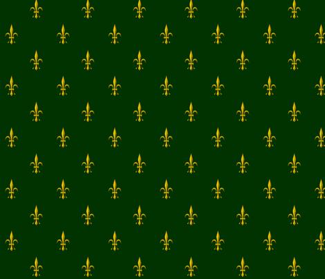 ©2011 Fleur de Lis 2010 green gold fabric by glimmericks on Spoonflower - custom fabric