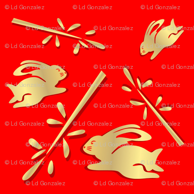 Year of the Rabbit Gold and Red
