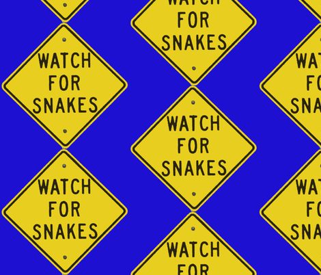 Texas Signs - Watch for Snakes, Diamond back design fabric by susaninparis on Spoonflower - custom fabric