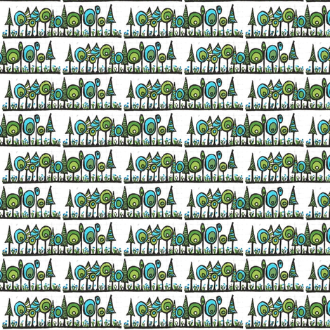 Blue and green trees fabric by orangesweater on Spoonflower - custom fabric