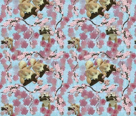 Sakura repeat (blue) fabric by hakuai on Spoonflower - custom fabric
