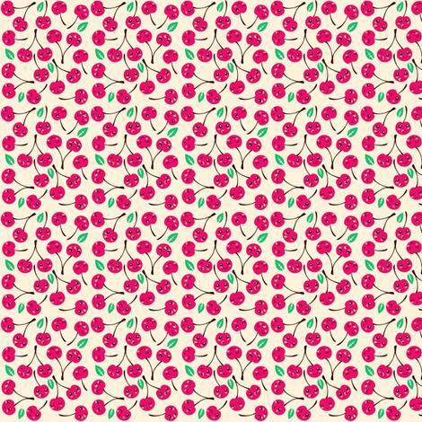 Happy Cherries (white) fabric by irrimiri on Spoonflower - custom fabric