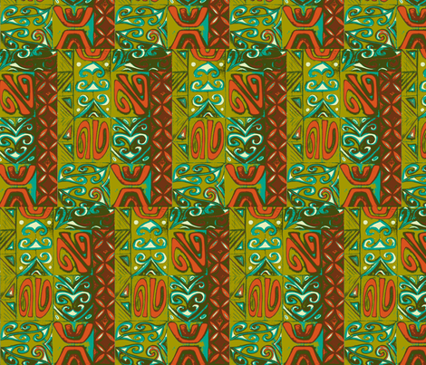 Old School,Mod-pa olive and orange fabric by sophista-tiki_by_dawn_frasier on Spoonflower - custom fabric