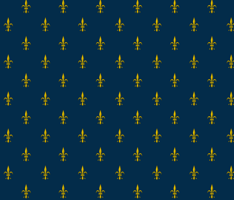 ©2011 Fleur de Lis 2010 - marine gold fabric by glimmericks on Spoonflower - custom fabric
