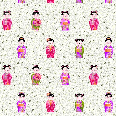 kokeshiFieldWide fabric by thelazygiraffe on Spoonflower - custom fabric