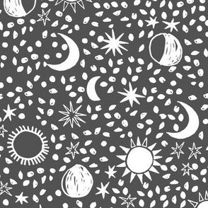 Sun, Moon, Stars - Charcoal/White by Andrea Lauren