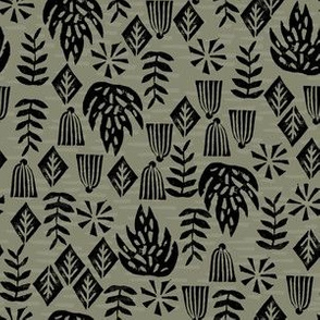 Safari Plants - Olive (Custom size) by Andrea Lauren