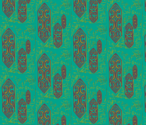 Old School, Nu Gu No Ku in Blu fabric by sophista-tiki_by_dawn_frasier on Spoonflower - custom fabric