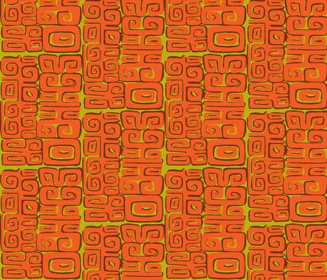 Abstactiva, Matuku, orange fabric by sophista-tiki_by_dawn_frasier on Spoonflower - custom fabric