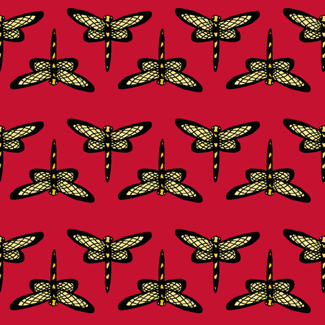 Dragonflies on Red fabric by pond_ripple on Spoonflower - custom fabric