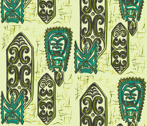 Nu Ku Gu Ecru fabric by sophista-tiki_by_dawn_frasier on Spoonflower - custom fabric