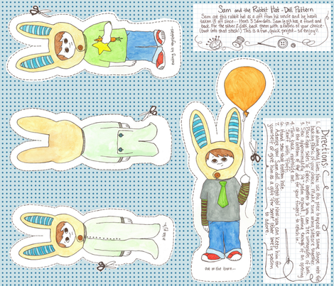 Sam & the RABBIT HAT (doll pattern) fabric by erin_lebeau on Spoonflower - custom fabric