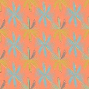 Gingham Flowers on Orange 2x2