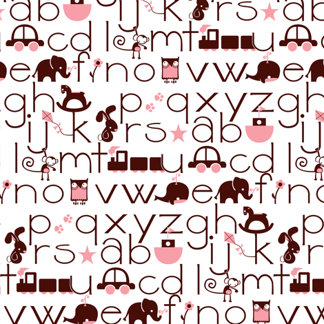 ABC Baby - Brown/Pink fabric by ttoz on Spoonflower - custom fabric