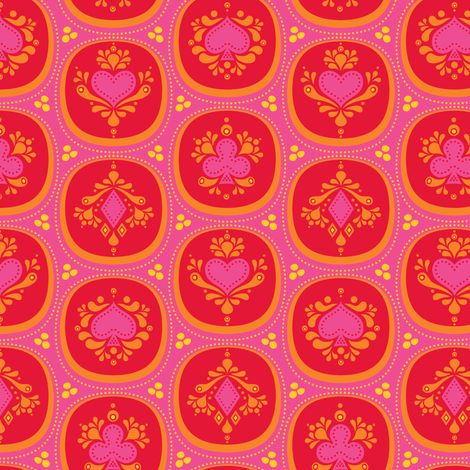 Diamonds & Hearts Red fabric by zesti on Spoonflower - custom fabric