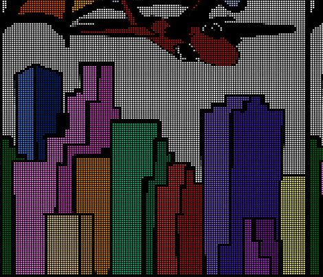 Jet Over City fabric by pond_ripple on Spoonflower - custom fabric