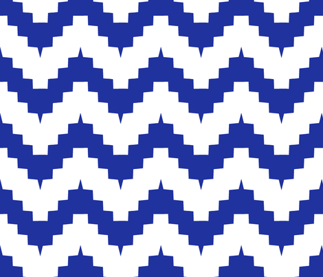 large scale chevron - white and royal blue fabric by ravynka on Spoonflower - custom fabric