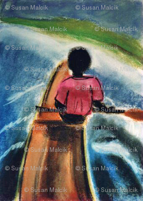 Pirogue going up the Gambia River, pastel version