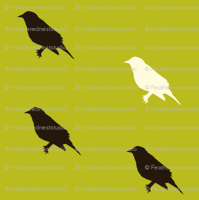 tiny_green_background_with_black_and_white_birds