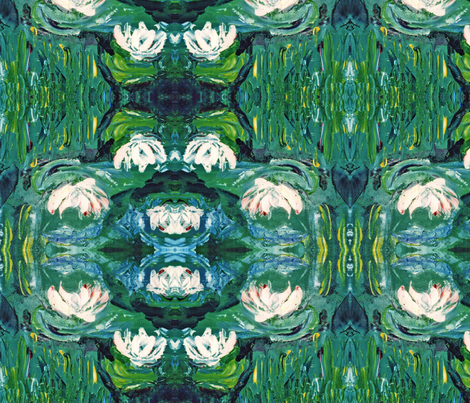Waterlilies after Monet - scarf version fabric by susaninparis on Spoonflower - custom fabric