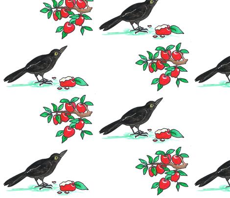 Crow_and_Apples fabric by joycemj on Spoonflower - custom fabric