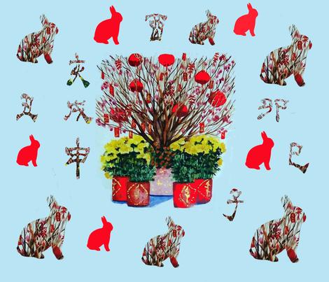 The Year of the Rabbit fabric by karenharveycox on Spoonflower - custom fabric