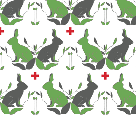 scando_rabbits_green_ plus fabric by holli_zollinger on Spoonflower - custom fabric